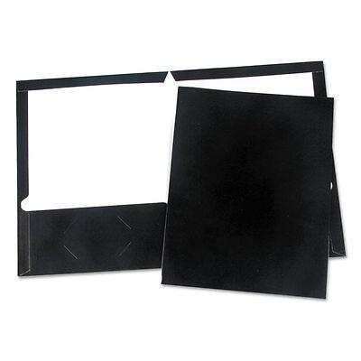 UNIVERSAL Laminated Two-Pocket Folder Cardboard Paper Black 11 x 8 1/2 25/Box