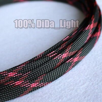 4mm~10mm Black_Pink Tight Braided PET Expandable Sleeving Cable Wire Sheath lot