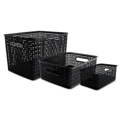 Advantus Weave Bins 13 58 X 10 34 X 9 Plastic Black 3 Bins 40329