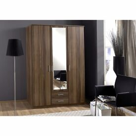 Brand New German Osaka 3 Door Wardrobe in White and Walnut Finish -- Same Day Fast Delivery