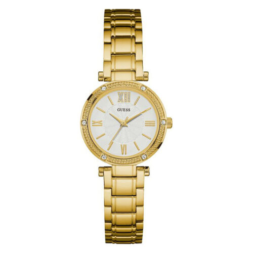 New Guess Watch Women * Gold Case Band * White Dial * Crystal Accents U0767l2