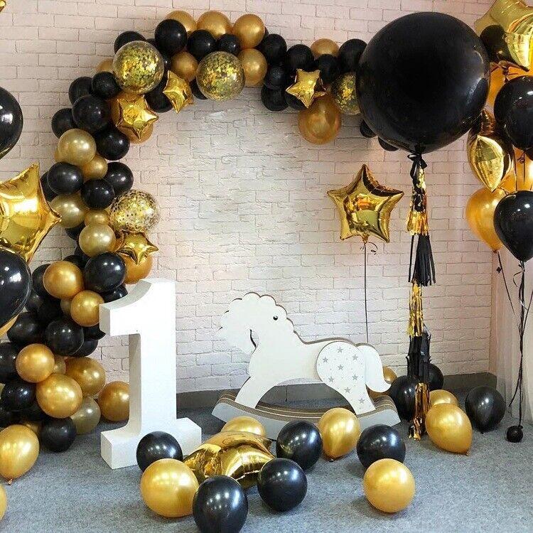 112Pcs Black Gold Balloon Arch Garland Birthday Graduation Party Decor Supplies