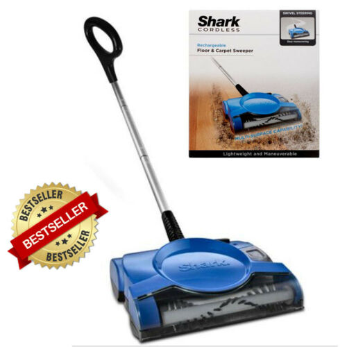 NEW Shark Cordless Rechargeable Floor and Carpet Sweeper V2700Z BLUE, Easy user