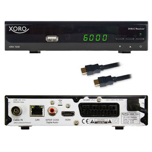 Digital HD Kabel Receiver Xoro HRK 7658 USB LAN HDMI Scart EPG DVB-C TV Empfänge