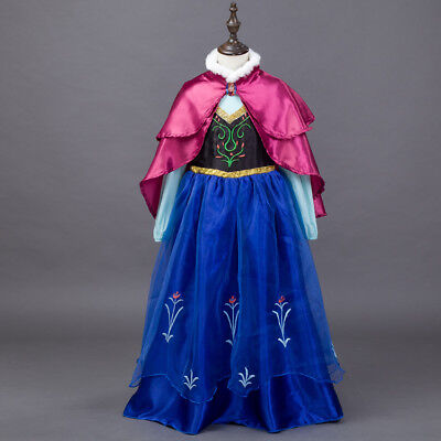 2017 Halloween Kids Frozen Anna Cosplay Costume Dress Cape Cloak Party Role Play