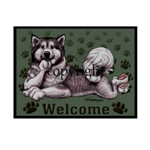 Alaskan Malamute Dog Paws Cartoon Artist Welcome Doormat Floor Door Mat Rug