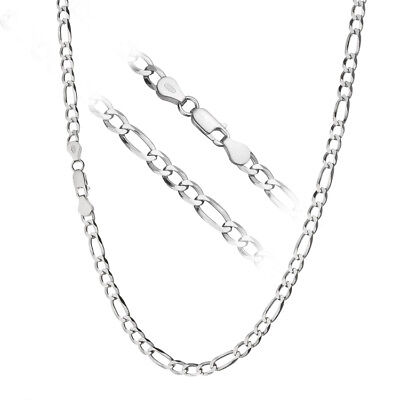 Solid 925 Sterling Silver Men's Italian 5mm Figaro Link Chain Necklace ALL SIZES 5mm Figaro Link Chain