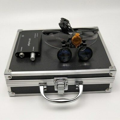 3.5x Dental Binocular Loupes Led Headlight With Filter Aluminum Box Black