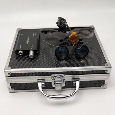 3.5x Dental Binocular Loupes Led Headlight With Filter Aluminum Box Black
