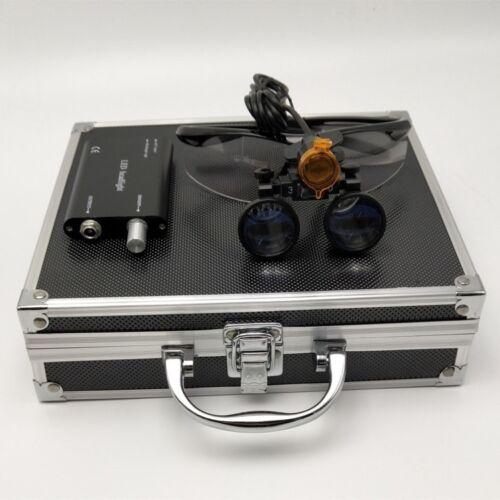 3.5X Dental Binocular Loupes + LED Headlight with Filter + Aluminum Box Black
