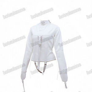 Women's Straitjacket PU Leather Strict Bondage Kinky Straight Jacket Kinky White