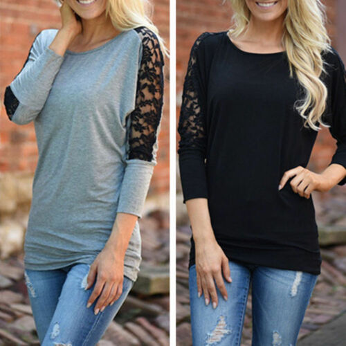 $9.45 - New Fashion Women Long Sleeve Shirt Casual Lace Blouse Loose Cotton Tops T Shirt