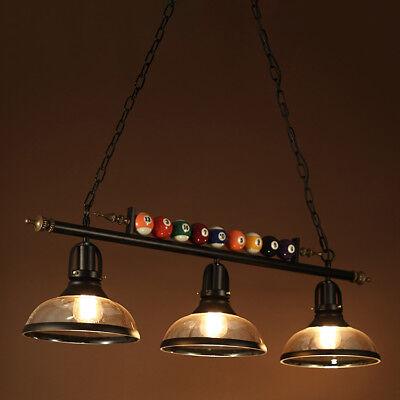 Vintage Pool Table Design Pendant Ceiling Fixture Metal Billiard 3 Glass Light