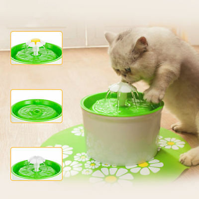 GREEN AUTOMATIC KITTEN CAT DOG BIRD FLOWER FOUNTAIN PET BOWL DRINK DISH FILTER