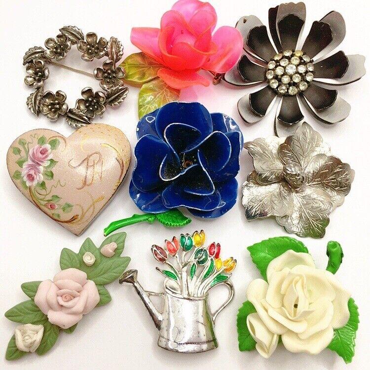 🌸Vintage To Now Enamel Plastic Clay Flower Brooch Pin Lot Rhinestone Painted