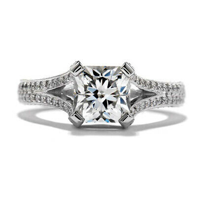 1.77ctw GIA Radiant Vintage Style Pave Split Shank Engagement Ring 18K Gold