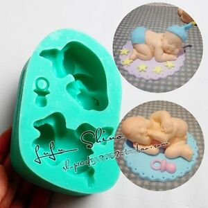 Silicone Sleeping Baby Mould Cake Topper Christening Chocolate Icing Birthday