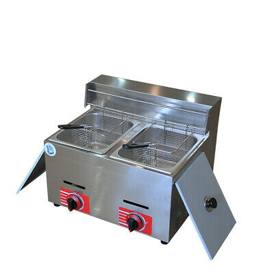 Commercial Countertop Gas Fryer Deep Fryer Double Basket Stainless Steel 20l