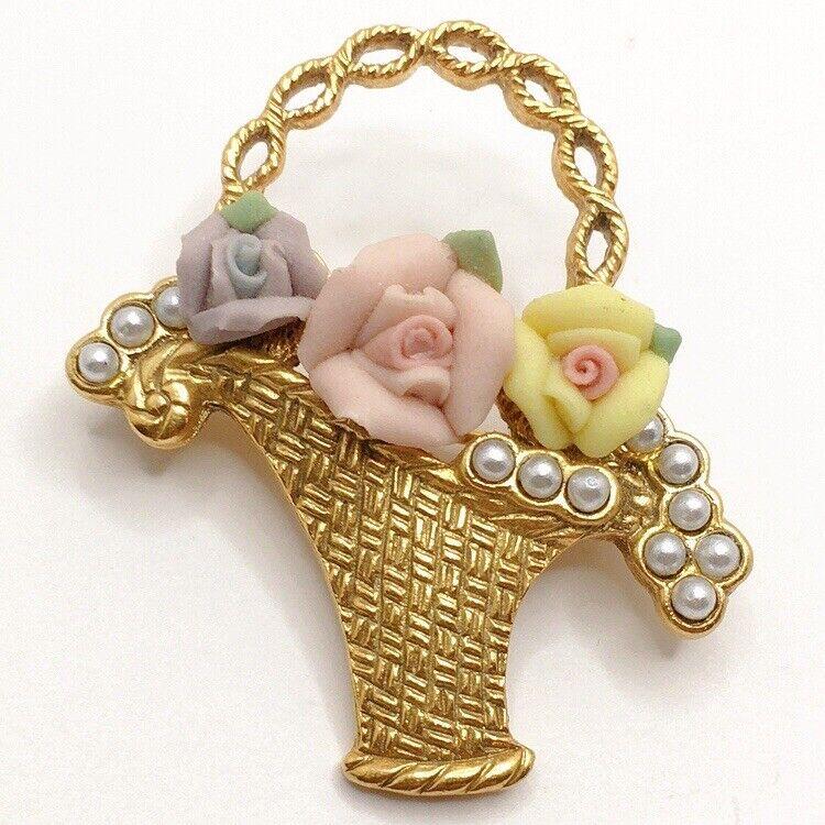 💐1928 Brand Flower Basket Faux Pearl Brooch Pin Lot B