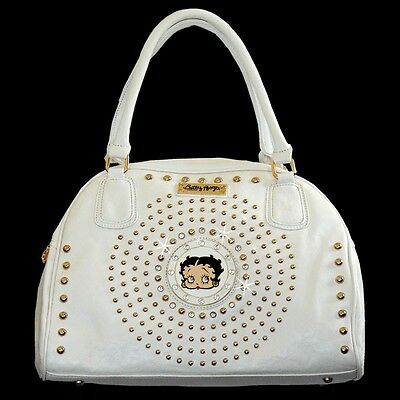 Betty Boop Curvetop Rhinestone Satchel Bag by Sharon Purse Handbag White KF-4003