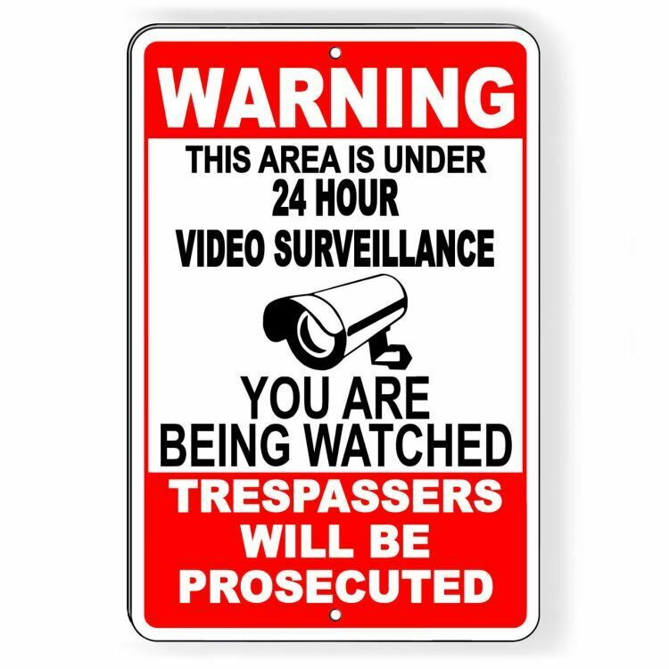 Warning This Property Under 24 Hour Video Surveillance Sign security cctv Metal