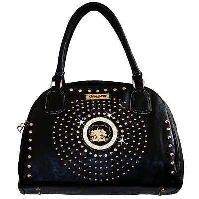 Betty Boop Curvetop Rhinestone Satchel Bag by Sharon Purse Handbag Black KF-4003