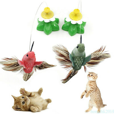 Funny Electric Bird Flying Around The Beautiful Flower Pet Cat Teasing Toys