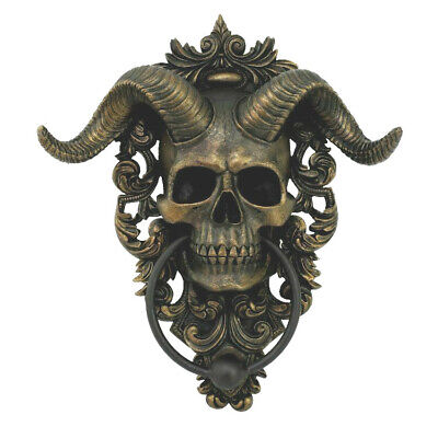 Devil With Horns (Macabre Gothic Castle Skull With Horns Devil Spooky Hallows Door)
