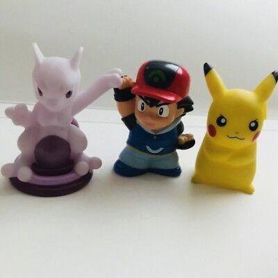 Ash Pikachu & Mewtwo Pokemon Nintendo Bandai Toy Figures 3pc Bundle