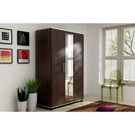 BRAND NEW SOLID 3 DOOR WENGE/WHITE COLOR WARDROBE WITH SHELVES AND HANGING RAIL
