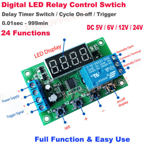 DC 5V 6V 12V 24V Delay Turn On/Off Cycle Signal Trigger Timer Relay Switch Board