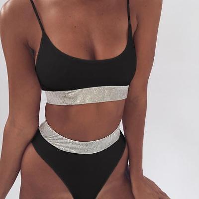 mode meer kostüm zwei teile band schwarz-weiss glitter slip bikini élégant 5643