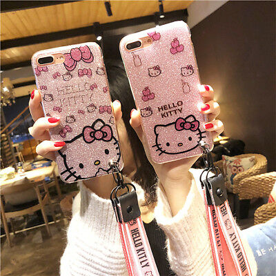 Bling For iPhone 11 Pro Xs Max 8 XR Glitter Hello Kitty Case Sparkle Strap -