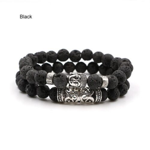 2pcs Natural Lava Beads Buddha Bracelet Set for Men Women Yo