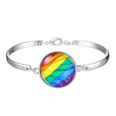 2018 LGBT GLBT Gay Pride Rainbow Flag Charm silver jewelry Bracelets wholesale