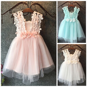 Baby Flower Girl Dress Lace Tulle Backless Sundress Formal Party