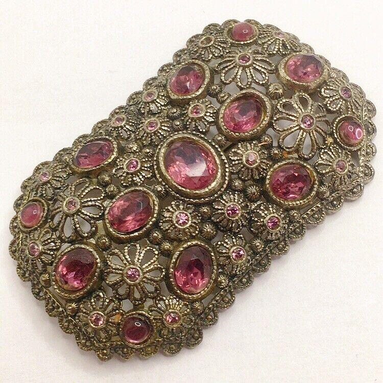 🔮Antique Vintage Art Deco Purple Rhinestone Floral Rectangle Brooch Pin Lot B