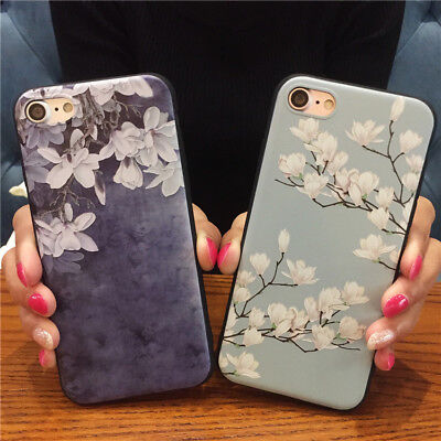 Relief Flower (Elegant Floral Case For iPhone 8 X 7 6S 6 Plus Pretty Relief Flower Back Cover )