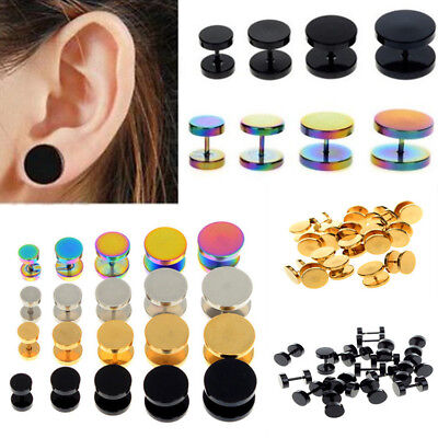 Flesh Tunnel Earring Ear Plug - 1 Pair Surgical Steel Fake Cheater Earring Stud Ear Plug Flesh Tunnel Piercing