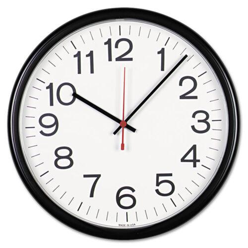 """Universal Indoor/Outdoor Clock, 13-1/2"""", Black, Case of 2"""