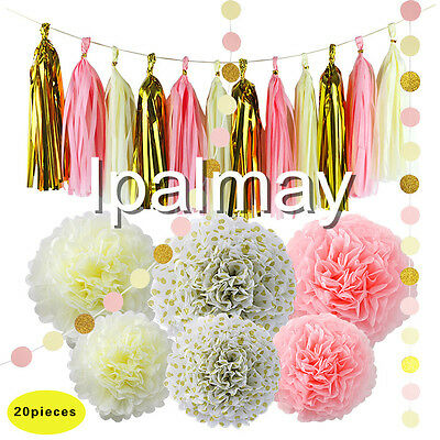 Pink Cream And Gold Tissue Paper Pompoms Tassel Garland Party Foil Curtain Decor ()