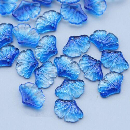 CHOOSE COLOR 25Pcs 15x20mm Czech Glass Ginkgo Leaf Petal Pressed Beads HH6609