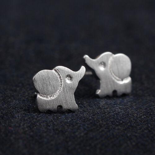 Cute Brushed Elephant Ear Studs Earrings Women/'s Silver Plated Jewelry