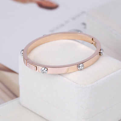 Henri Bendel Rose Gold Rivet Logo Crystal Bangle Bracelet - Petite w/ Gift Box - Gold Bangle