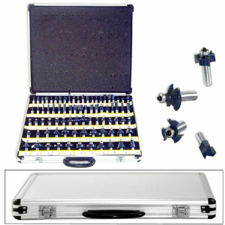 """New 80pc 1/2"""" Shank Tungsten Carbide Router Bit Set w/CASE 2 Blade 3 Blade"""