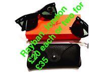 Rayban boxed brand new case clothe tags sunglasses aviator wayfarer