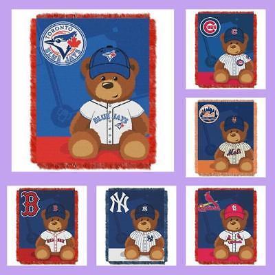 Baby Triple Woven Blanket (MLB Licensed Triple Woven Jacquard Afghan Throw Baby Blanket - Choose Your Team )