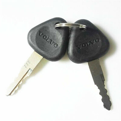 2 Pcs Keys Fit Volvo Clark Samsung Excavators 14529178 777 M3 New