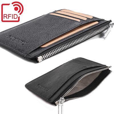 Best Gift Men's RFID Blocking REAL Leather Zipper Pocket Slim Minimalist