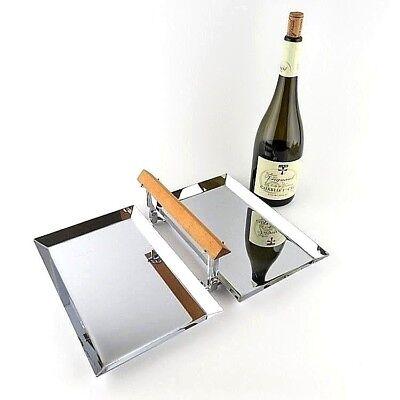 Art Deco Folding Double Tray by Manning Bowman Polished Chrome Wood Handle MCM